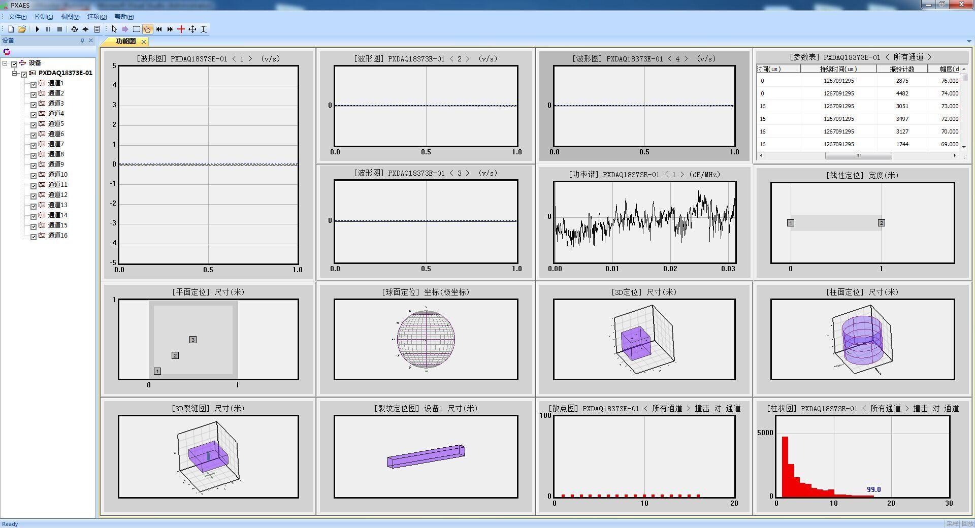 千兆网接口,usb总线等声发射采集卡),可运行在32位和64位的windows7